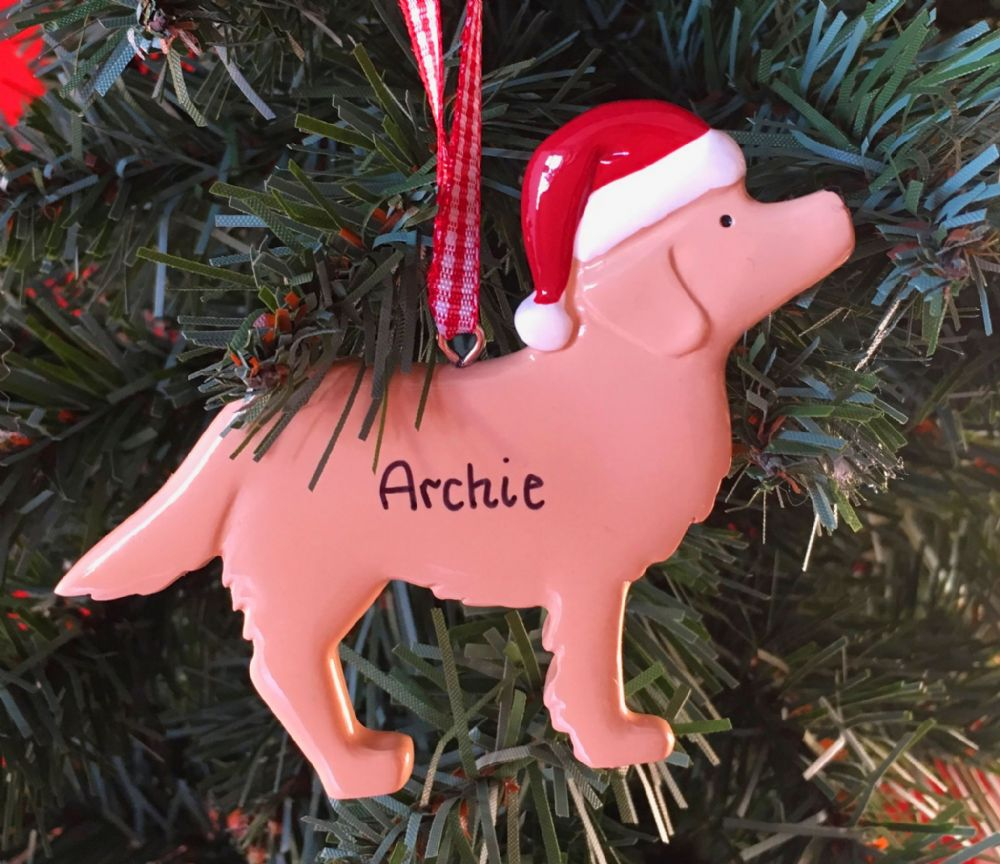 Personalised Dog with Santa Hat Christmas Tree Decoration